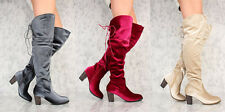 NEW Velvet SLIP ON THIGH HIGH SINGLE SOLE Chunky HIGH HEEL BOOTS FAUX SUEDE