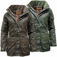 Women's Ladies  Game Cantrell Antique Style Waxed Cotton Padded Wax Jacket Coat