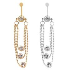 3 Layer Crystal Tassels Dangle Navel Belly Button Ring Bar Body Jewellery