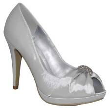 LADIES SILVER SATIN DIAMANTE EVENING PARTY PEEP TOE HIGH HEEL SHOES SIZE 8 UK