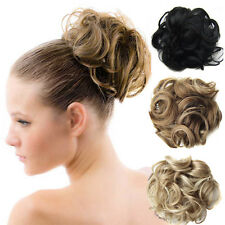 25Colors Curly Clip In Hair Bun Chignons Hairstyles Short Hair Pieces