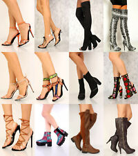 Lot BLACK TAN ROUND POINTY TOE TASSEL FRINGE THIGH HIGH HEEL BOOTS FAUX SUEDE