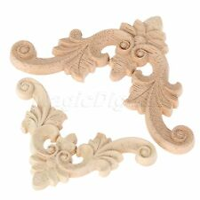 Unpainted Oak Wood Carved Corner Onlay Applique Furniture Craft Home Frame Decor