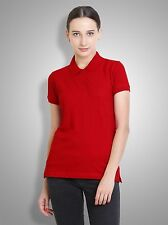 Polo Nation Women's Red Solid Cotton Polo Tshirt
