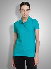 Polo Nation Women's Turquoise Solid Cotton Polo Tshirt