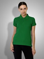 Polo Nation Women's Light Green Solid Cotton Polo Tshirt