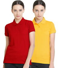 Polo Nation Women's Cotton Polo T-shirt Pack of 2  (Red,Yellow)
