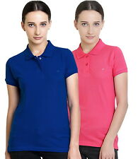 Polo Nation Women's Cotton Polo T-shirt Pack of 2 (Royal Blue,Pink)