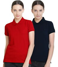 Polo Nation Women's Cotton Polo T-shirt Pack of 2 (Red,Navy