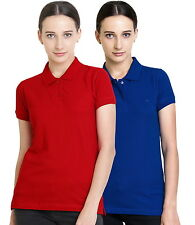 Polo Nation Women's Cotton Polo T-shirt Pack of 2 (Red,Royal Blue)