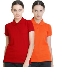 Polo Nation Women's Cotton Polo T-shirt Pack of 2  (Red,Orange)