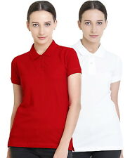 Polo Nation Women's Cotton Polo T-shirt Pack of 2 (Red,White)
