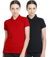 Polo Nation Women's Cotton Polo T-shirt Pack of 2 (Red,Black)