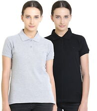 Polo Nation Women's Cotton Polo T-shirt Pack of 2 (Grey Melange,Black)
