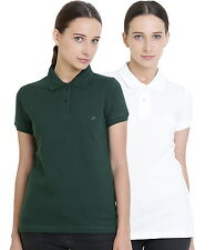 Polo Nation Women's Cotton Polo T-shirt Pack of 2 (Bottle Green,White)