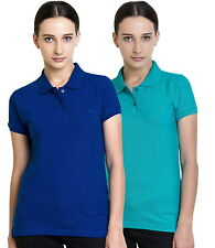 Polo Nation Women's Cotton Polo T-shirt Pack of 2 (Royal Blue,Turquoise)