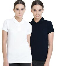 Polo Nation Women's Cotton Polo T-shirt Pack of 2 (White,Navy Blue)
