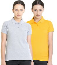 Polo Nation Women's Cotton Polo T-shirt Pack of 2 (Grey Melange,Yellow)