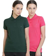 Polo Nation Women's Cotton Polo T-shirt Pack of 2 (Bottle Green,Pink)