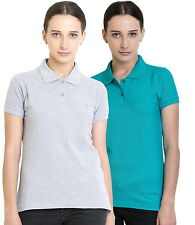 Polo Nation Women's Cotton Polo T-shirt Pack of 2 (Grey Melange,Turquoise)