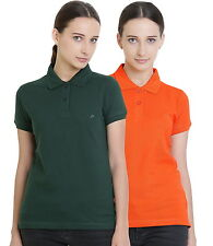 Polo Nation Women's Cotton Polo T-shirt Pack of 2 (Bottle Green,Orange)