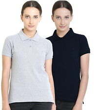 Polo Nation Women's Cotton Polo T-shirt Pack of 2 (Grey Melange,Navy Blue)