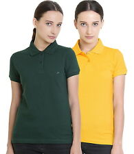 Polo Nation Women's Cotton Polo T-shirt Pack of 2 (Bottle Green,Yellow)