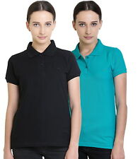 Polo Nation Women's Cotton Polo T-shirt Pack of 2 (Black,Turquoise)