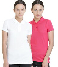 Polo Nation Women's Cotton Polo T-shirt Pack of 2 (White,Pink)