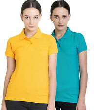 Polo Nation Women's Cotton Polo T-shirt Pack of 2 (Yellow,Turquoise)