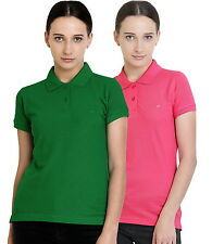 Polo Nation Women's Cotton Polo T-shirt Pack of 2 (Light Green,Pink)