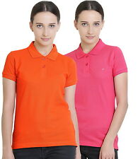 Polo Nation Women's Cotton Polo T-shirt Pack of 2 (Orange,Pink)