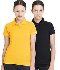 Polo Nation Women's Cotton Polo T-shirt Pack of 2 (Yellow,Pink)
