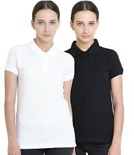 Polo Nation Women's Cotton Polo T-shirt Pack of 2 (White,Black)