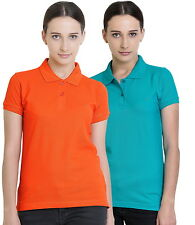 Polo Nation Women's Cotton Polo T-shirt Pack of 2 (Orange,Turquoise)