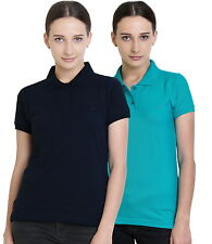 Polo Nation Women's Cotton Polo T-shirt Pack of 2 (Navy Blue,Turquoise)