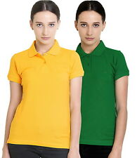 Polo Nation Women's Cotton Polo T-shirt Pack of 2 (Yellow,Light Green)