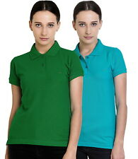 Polo Nation Women's Cotton Polo T-shirt Pack of 2 (Light Green,Turquoise)