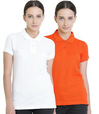 Polo Nation Women's Cotton Polo T-shirt Pack of 2 (White,Orange)