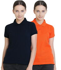 Polo Nation Women's Cotton Polo T-shirt Pack of 2 (Navy Blue,Orange)
