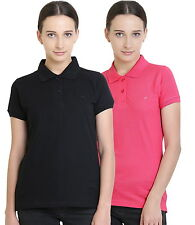 Polo Nation Women's Cotton Polo T-shirt Pack of 2 (Black,Pink)