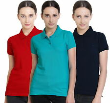 Polo Nation Women's Cotton Polo T-shirt (Red,Navy Blue,Turquoise)