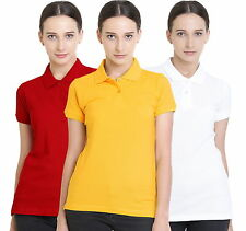 Polo Nation Women's Cotton Polo T-shirt Pack of 3 (Red,White,Yellow)