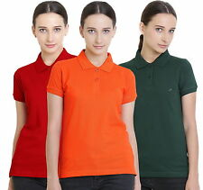 Polo Nation Women's Cotton Polo T-shirt Pack of 3 (Red,Bottle Green,Orange)