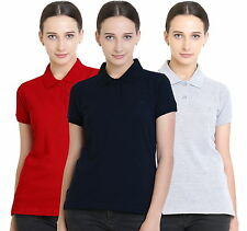 Polo Nation Women's Cotton Polo T-shirt Pack of 3 (Red,Grey Melange,Navy Blue)