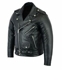 New Mens Real Leather Vintage Classic Brando Motorcycle Perfecto  Biker Jacket