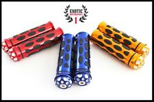 "Motorcycle CNC Aluminum Rubber Gel Hand Grips with end cap for 7/8"" Handle Bars"