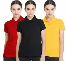 Polo Nation Women's Cotton Polo T-shirt Pack of 3 (Red,Yellow,Black)