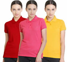 Polo Nation Women's Cotton Polo T-shirt Pack of 3 (Red,Yellow,Pink)