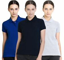 Polo Nation Women's Cotton Polo T-shirt Pack of 3 (Royal Blue,Grey ,Navy Blue